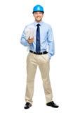 白色背景的愉快的年轻商人建筑师 免版税库存图片