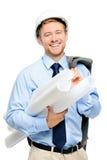 白色背景的愉快的年轻商人建筑师 免版税库存照片