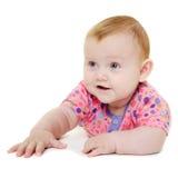 白色背景的愉快的婴孩。 免版税图库摄影