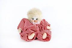 白色背景的玩具小丑 免版税图库摄影