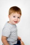 白色背景的甜男孩 免版税图库摄影