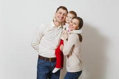 白色背景的美丽的欧洲青年人 情感,家庭观念 免版税库存照片