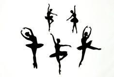 白色背景的芭蕾舞女演员 库存照片