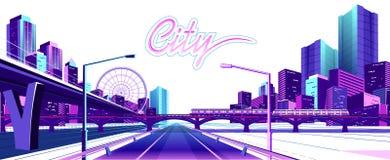 白色背景的霓虹城市 向量例证
