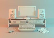 白色背景的音乐录象工作站 演播室为录音设定了用显示器设备、输入装置和mic 库存照片