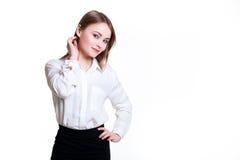 白色背景的年轻可爱的企业女孩,文本的空间 库存图片