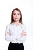 白色背景的年轻可爱的企业女孩 免版税库存图片