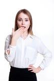 白色背景的年轻可爱的企业女孩 图库摄影