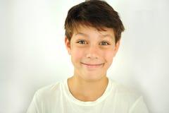 白色背景的滑稽的男孩 免版税库存照片