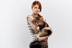 白色背景的年轻美丽的妇女拿着一只猫,宠物 库存图片