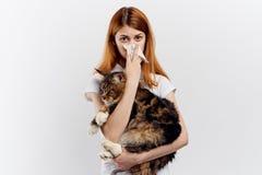 白色背景的年轻美丽的妇女拿着一只猫,对宠物的过敏 免版税图库摄影