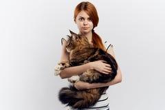 白色背景的年轻美丽的妇女拿着一只猫 免版税库存照片