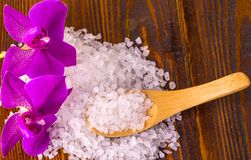 白色腌制槽用食盐和一把匙子有Orhid的木表面上 免版税库存照片