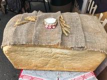 白色自创,自创麦子面包和盐一个大,巨大的长方形大面包与外壳的 遇见客人的俄国传统 免版税图库摄影