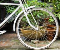 白色自行车车轮的细节 库存照片