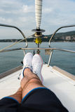 白色航行鞋子 免版税图库摄影