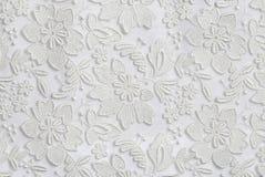 白色花卉鞋带纹理背景 免版税库存照片