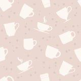白色茶杯无缝的样式 免版税库存照片