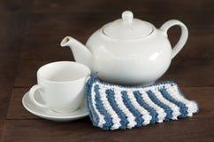 白色茶罐 免版税库存照片