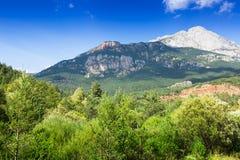 白色落矶山脉在比利牛斯 卡塔龙尼亚 免版税图库摄影