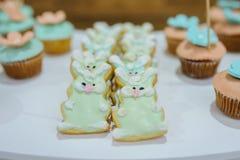白色蓝色绿松石曲奇饼兔宝宝窗框和杯形蛋糕 库存图片