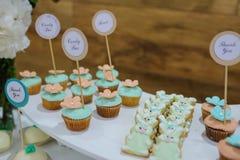 白色蓝色绿松石曲奇饼兔宝宝窗框和杯形蛋糕 免版税库存照片