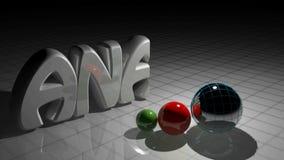 白色表面上的ANALISYS,在三球形- 3D翻译录影附近 库存例证