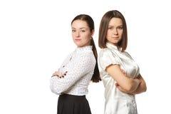 白色衬衣的两个女商人 免版税库存图片