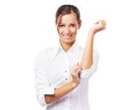 白色衬衣的可爱的女实业家 免版税库存照片