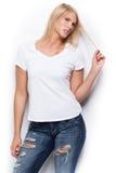 白色衬衣的愉快的女孩 库存照片