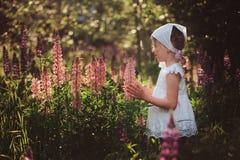 白色衬衣的逗人喜爱的儿童使用在夏天羽扇豆的女孩和头饰带调遣 库存照片