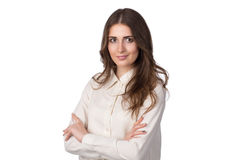 白色衬衣的年轻美丽的妇女 免版税库存图片