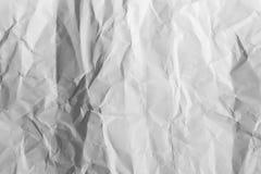 白色被弄皱的纸背景纹理 免版税库存图片