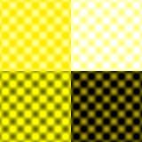 白色被检查的栅格圆的迷离-黄色&黑& 免版税库存照片