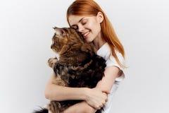 白色被隔绝的背景的美丽的少妇拿着一只猫,过敏 免版税库存图片