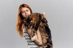 白色被隔绝的背景的年轻美丽的妇女拿着一只猫 库存图片