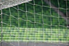 白色足球网有绿草背景 图库摄影