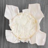 白色软干酪回合与模子的在蜡纸 图库摄影