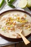白色辣椒鸡用cannellini豆和玉米特写镜头在a 图库摄影