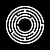 白色迷宫标志 库存图片
