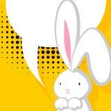 白色逗人喜爱的兔子可笑的泡影 皇族释放例证