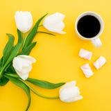 白色郁金香框架开花与杯子咖啡和蛋白软糖在黄色背景 背景植物的圈子盘旋公司使最大的徽标环境美化的冷静花卉花花园庭院中间完善界面固定的空间白色的构成概念 平的位置,顶视图 库存照片