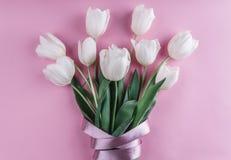 白色郁金香花束在桃红色背景开花 等待的春天 库存图片