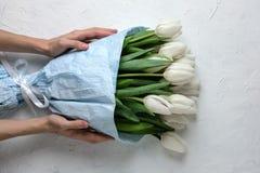 白色郁金香花束在蓝色包装纸的用在白色具体背景的妇女手 顶视图 平的位置 库存照片