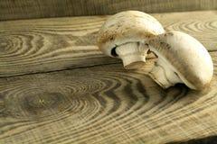 白色采蘑菇在一张木桌上的蘑菇 图库摄影