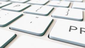 白色键盘和印刷品钥匙,浅焦点宏观移动式摄影车射击  概念性4K夹子 向量例证