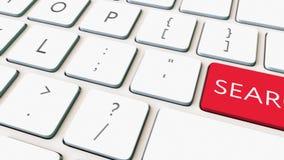 白色键盘和红色检索关键字 概念性4K夹子 影视素材