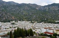 白色镇,镇用增白剂擦,安大路西亚,西班牙 库存图片