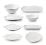白色陶瓷板材和碗 免版税库存照片