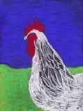 白色雄鸡蜡笔画。 图库摄影
